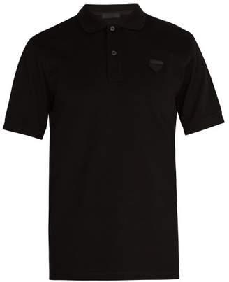 Prada Logo Patch Cotton PiquA Polo Shirt - Mens - Black