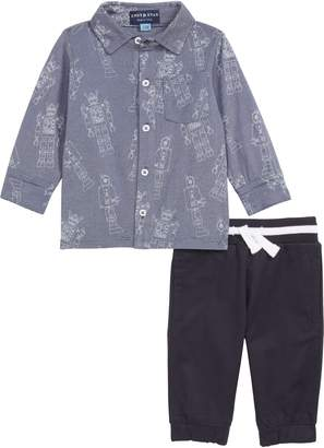 Andy & Evan Robot Print Knit Shirt & Jogger Pants Set