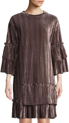 Goldie London Jazzed Pleated Velvet Dress