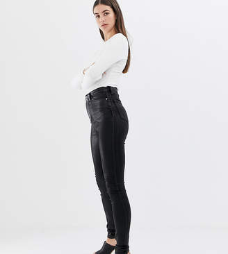 cac2fc1c92a16c Asos Tall DESIGN Tall Sculpt me high waisted premium jeans in black coated