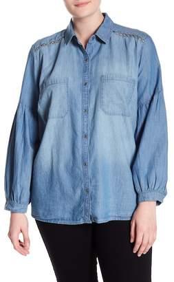 Susina Chambray Lattice Panel Shirt (Plus Size)