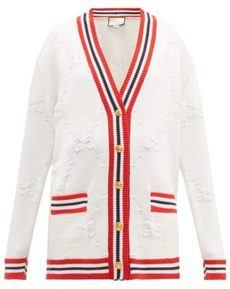 Gucci Gg Logo Jacquard Wool Blend Cardigan - Womens - Ivory Multi