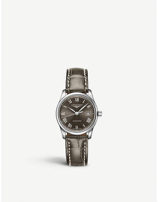 Longines L2.257.471.3 Master Collection alligator-leather and stainless steel watch