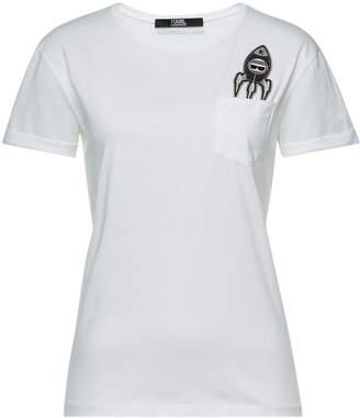 Karl Lagerfeld Paris Space Embellished Cotton T-Shirt