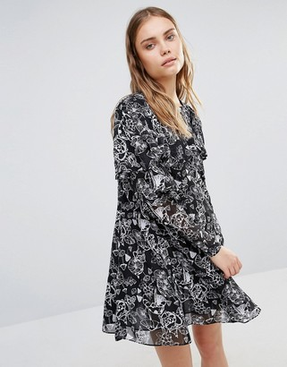 Lost Ink Smock Dress With Frill Detail $62 thestylecure.com