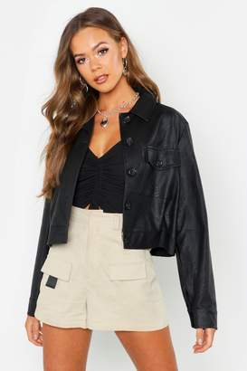 boohoo Faux Leather Trucker Jacket