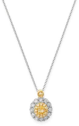 "Bloomingdale's Oval Yellow & White Diamond Necklace in 18K Yellow & White Gold, 17"" - 100% Exclusive"