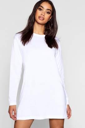 boohoo Cotton Long Sleeve Oversized T-Shirt Dress