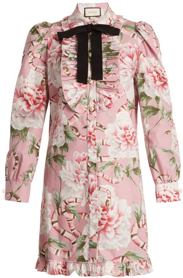 GUCCI Floral-print stretch-cotton shirtdress