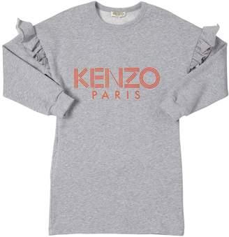 Kenzo Ruffled Cotton Sweatshirt Dress