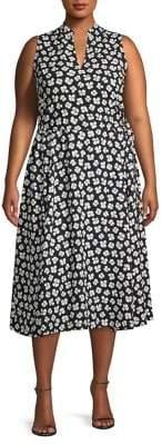 Anne Klein Plus Splitneck Drawstring Midi Dress