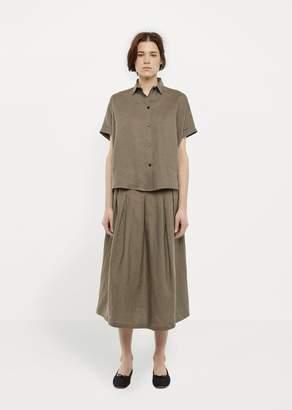 La Garçonne Moderne Linen Tuck Skirt Khaki