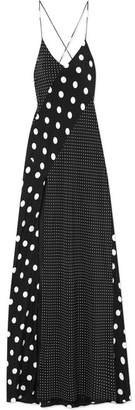 Michelle Mason - Polka-dot Silk Gown - Black