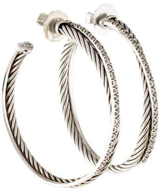 David Yurman Diamond Extra Large Crossover Hoop Earrings