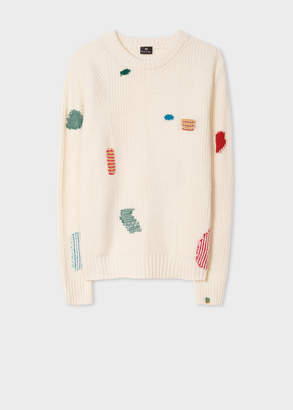 Paul Smith Women's Ecru Wool-Blend Ribbed Sweater With Darning Detail