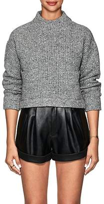 Philosophy di Lorenzo Serafini Women's Wool-Cashmere Crop Sweater - Gray
