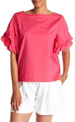 Laundry by Shelli Segal Ruffle Sleeve Poplin Tee