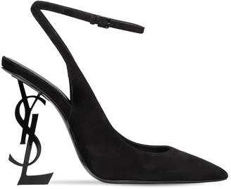 Saint Laurent 110mm Opyum Suede Ankle Strap Pumps