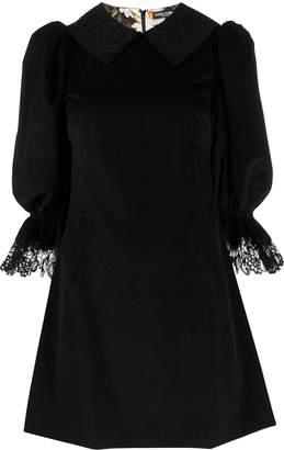 Dolce & Gabbana puff-sleeved short velvet dress