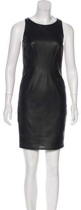 Vakko Perforated Leather Dress