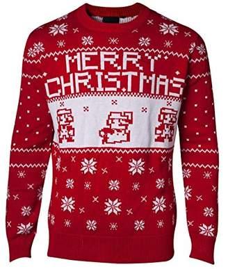 Nintendo Super Mario Bros Knitted Pixel Merry Christmas Sweater Jumper Red Men M