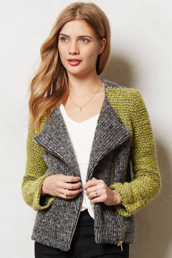 Anthropologie Moto Sweater Jacket