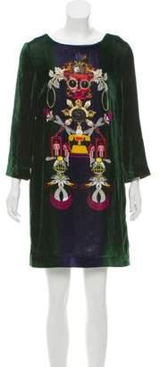 Mary Katrantzou Clocktopia Velvet Dress