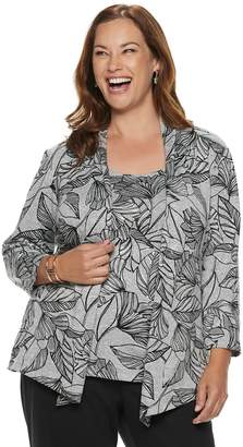 Alfred Dunner Plus Size Studio Leaves Mock-Layer Top