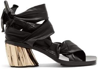 Ankle-tie block-heel leather sandals