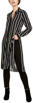 INC International Concepts Inc Striped Button-Up Tunic Top