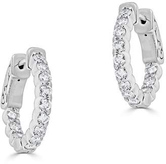 Saks Fifth Avenue Women's Ideal-Cut Shared Prong Huggie Diamond and 14K White Gold Hoop Earrings