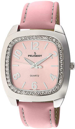 Peugeot Womens Crystal-Accent Pink Leather Strap Boyfriend Watch