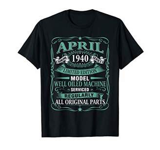 Vintage Made in April 1940 79th Years Old Birthday T-Shirt