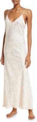 Pour Les Femmes Floral Jacquard Long Silk Nightgown