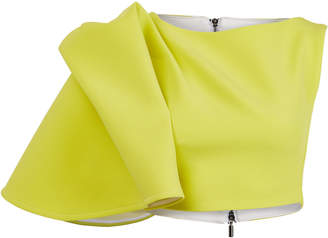 Maticevski Flaunt Draped-Sleeve Crop Top