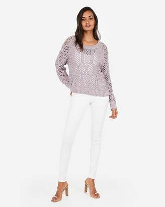 Express Marled Cable Open Stitch Pullover Sweater