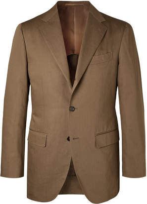 Beams Brown Slim-Fit Cotton And Linen-Blend Twill Suit Jacket