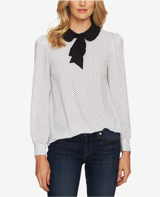 CeCe Printed Tie-Neck Top