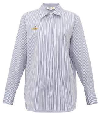 Stella McCartney Yellow Submarine Embroidered Striped Cotton Shirt - Womens - Light Blue