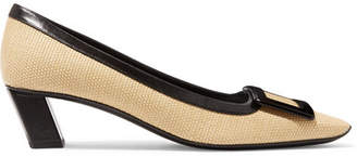 Roger Vivier Trompette Leather-trimmed Woven Straw Pumps - Beige