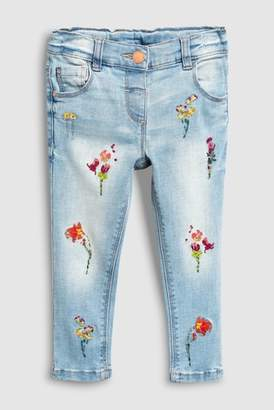 Next Girls Light Blue Floral Embroidered Jeans (3mths-6yrs)