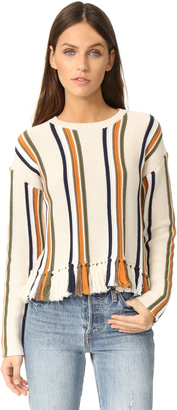 Whistles Fringe Detail Stripe Sweater $259 thestylecure.com