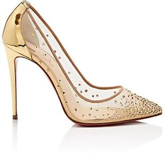 Christian Louboutin Women's Follies Strass Mesh & Leather Pumps - Version Gold