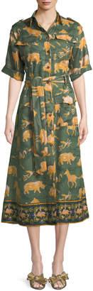 Chufy Short-Sleeve Button-Front Animal-Print Linen Safari Dress