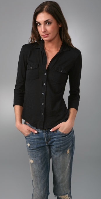 James Perse Button Down Shirt with Side Panels