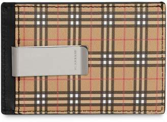 Burberry Small Scale Check and Leather Money Clip Card Case
