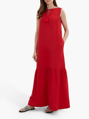 7818b4775dfd7e Jaeger Linen Tiered Dress, Red