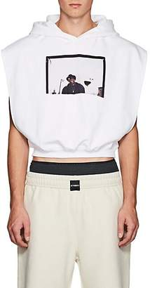 UPSTAIRS AT ERIC'S Men's Cotton Terry Cutout Crop Hoodie - White