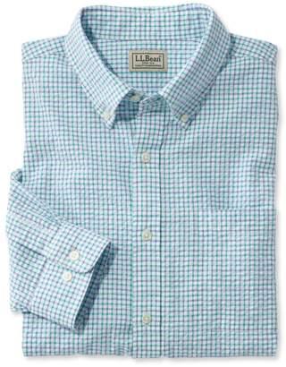 L.L. Bean L.L.Bean Men's Seersucker Shirt, Long-Sleeve Tattersall