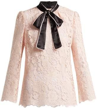 Dolce & Gabbana Lace satin neck-tie blouse